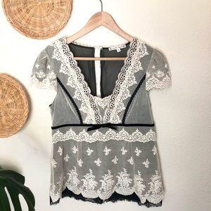 Nanette Lepore black and cream lace blouse Size 10
